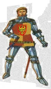 Ritter verzerrt mit Wappen